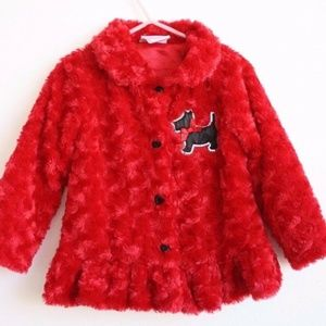 Red and Black Faux Fur Toddler 3T Soft Jacket